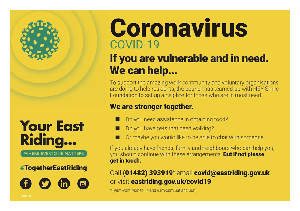 Covid-19 - Together East Riding postcard 1
